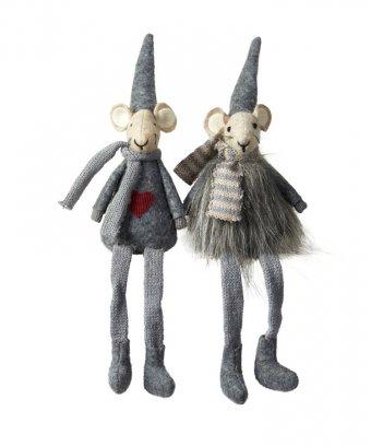 Mille mus, grå, 2 stk., 23 cm